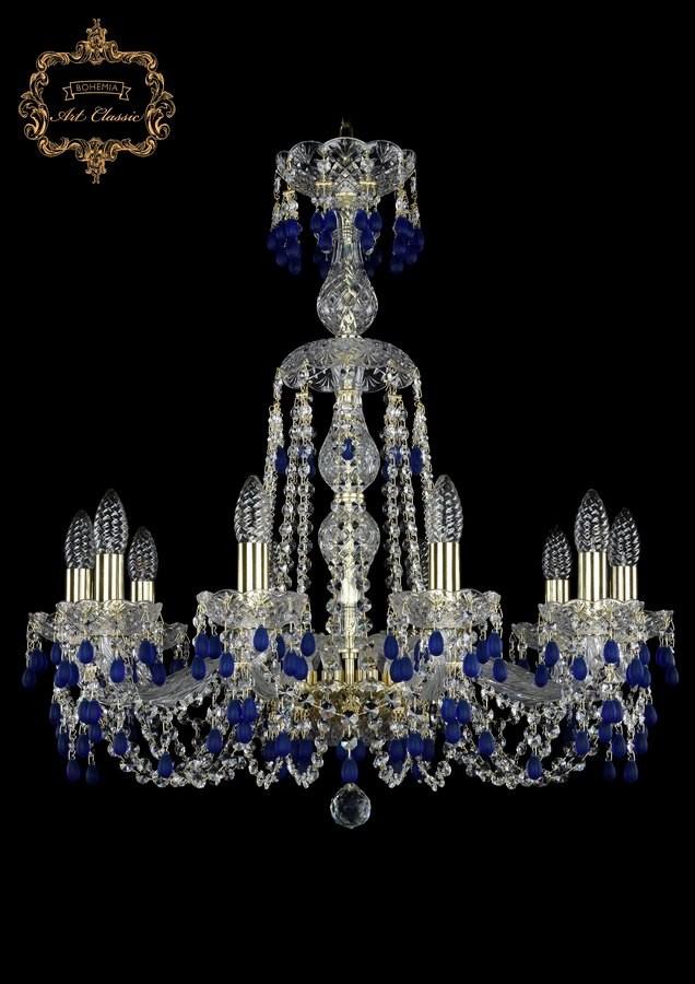 Люстра голубой хрусталь 11.24.10.220.XL-70.Gd.V3001