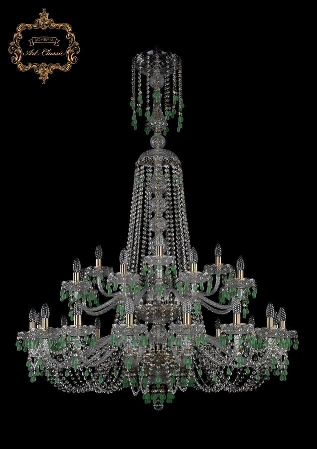Люстра зеленый хрусталь 11.24.16+8+4.400.2d.XL-155.Br.V5001