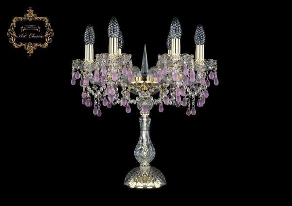 Настольная лампа розовый хрусталь 12.24.6.141-45.Gd.V7010