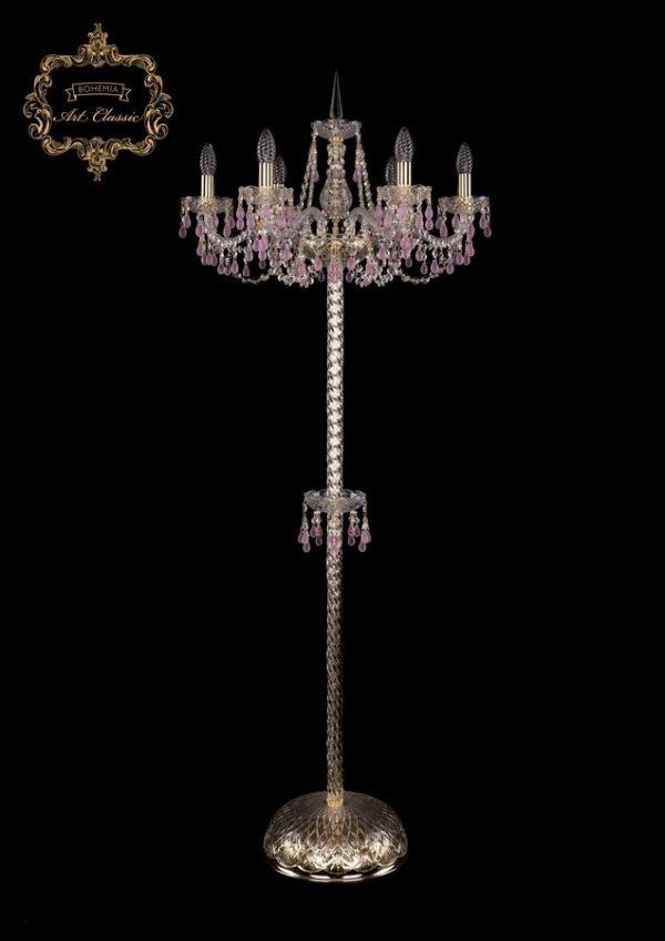Торшер розовый хрусталь 13.24.6.200.P.h-160.Gd.V7010