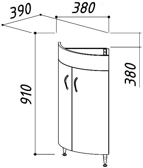 Тумба напольная Микро-Верона НУ38 под умывальник Верона 55