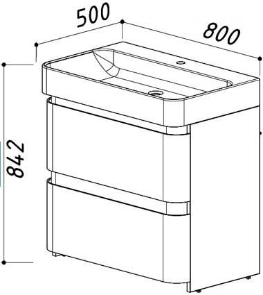 Тумба Олимпия Н81-02 под умывальник Олимпия 800