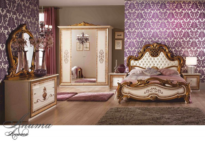 Шкаф 4-х дверный с зеркалами Анита