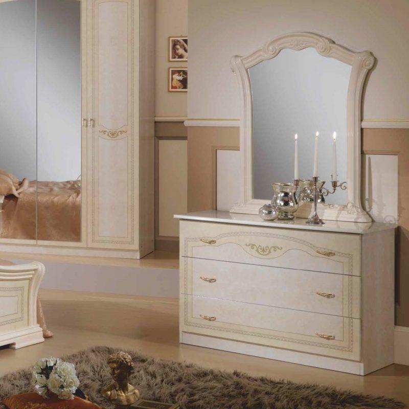 Комод (ДСП)  с зеркалом к кровати 1600 Ирина