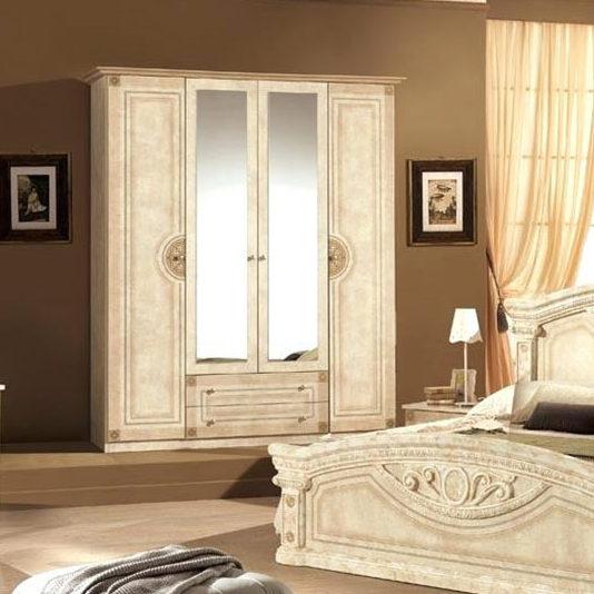 Шкаф 4-х дверный с зеркалами Рома